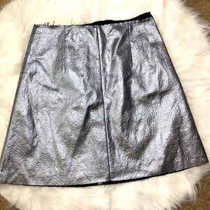 NWT Sam Edelman Silver Faux-Leather A-Line Skirt